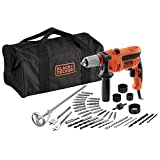 Black and Decker CD714CREW2-QS - Pack con taladro percutor, 40 accesorios y bolsa de almacenaje, 230 V, color negro y naranja