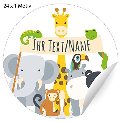 24 tolle, Custom Kinder Namens-Aufkleber mit Zoo Tieren, MATTE Papier Sticker mit ihrem Text universal Etiketten, Namensschilder für Mitgebsel, Pakete, Einschulung (4,5cm)
