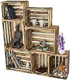 LAUBLUST 7er Set Vintage Holzkisten Zum Möbelbau - Massivholz Geflammt Kisten in 2 Größen - Weinkisten im Used Look