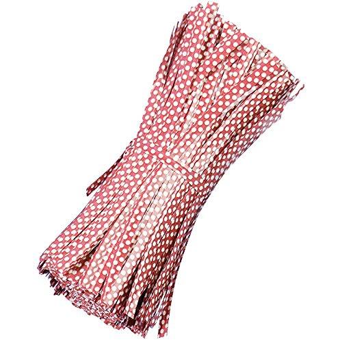 500 Pezzi Riutilizzabili Tondo Dot Stile Borsa Pacchetto Filo Metallico Cravatta Torsione Legami Torsione Metallico per Violoncello Sacchetti di Caramelle Rossa