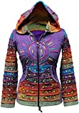 Säure wäsche mehrfarbig patchwork kapuzenpulli, rainbow gestreift ärmel hippy jacke,boho, Violett, XL