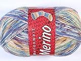 Lana Grossa Meilenweit 100 Merino Print 2305 Natur/Ocker/Jeansblau/Burgund/Grün 100g