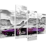 Large Abstract Purple Canvas Wall Art Pictures Set XL Prints Car 4144