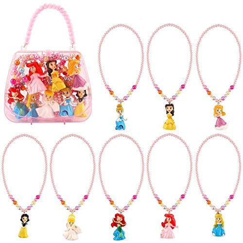 LlorenteRM Kinder Prinzessin Halskette Dress Up Zubehör Kostüm Kit für Mädchen Aktivität Geschenk-Set für Prinzessin Schneewittchen Cinderella Ariel Belle Aurora 8 Pack