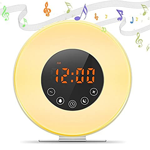 Digital Alarm Clock Alarm Clock Dawn & Sunset LED Wake Up Light Table Lamp Bed Night Light, Natural Sounds, Sleep Function, FM Radio (6 Colors, Touch Control) (New)