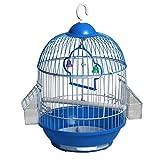 Xinxinchaoshi Fournitures pour Animaux Classiques Cage à Oiseaux Ronde Classique en Cage avec 2 Tasses à Nourrir (Bleu)