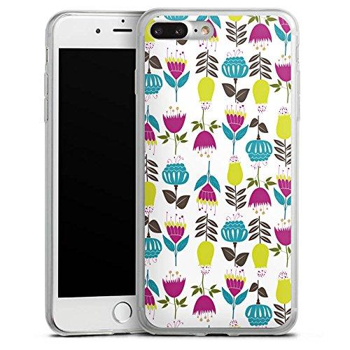 Apple iPhone 8 Plus Slim Case Silikon Hülle Schutzhülle Tulpen Flower Muster Silikon Slim Case transparent