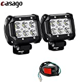 #4: Casago 6 LED Fog Light IP67 Waterproof CREE LED Spotlight White Flood Beam Work Lamp Bar with Installation Accessories and ON/OFF Switch for Scooter Motorcycle Jeep Off Road Car Bike Truck ATV SUV (18W, Pack of 2)