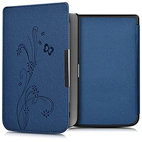 kwmobile Housse élégante en cuir synthétique pour Pocketbook Touch Lux 3 / Touch Lux 2 / Basic Lux / Basic 3 / Basic Touch 2 en Design sarments papillon bleu foncé