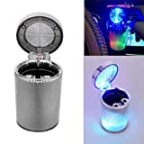 AutoTrends® LED Hipster Look Color Changing Cup Holder Car Ash Tray-Silver For Toyota