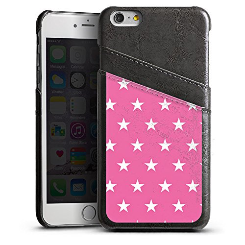 Apple iPhone 5s Housse Étui Protection Coque Polka étoiles Rose vif Motif Étui en cuir gris