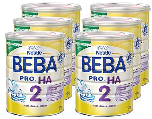 Nestlé BEBA PRO HA 2, Folgenahrung ab dem 6. Monat, Baby-Nahrung als Pulver, mit hydrolisiertem Eiweiß, enthält Omega 3 & 6 Fettsäuren, 6er Pack (6 x 800g Dose)