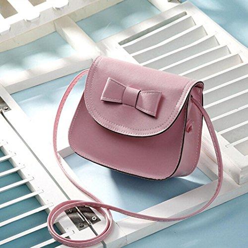 Saingace Art- und Weisefrauen Bowknot-Leder-Handtaschen-einzelner Schulter-Kurier-Telefon-Beutel Schultertasche Rosa