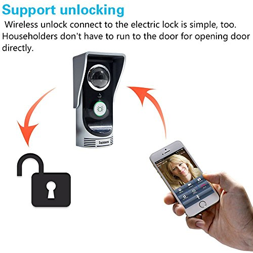 KKmoon Smartphone Wi-Fi Enabled Video Door Bell Peephole Viewer Camera 2.0 Megapixel Night Vision Intercom Doorbell for Home Security Monitoring Motion Detection