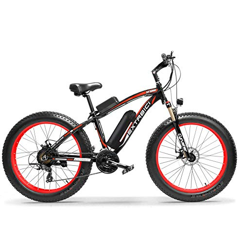 Extrbici E-Bike Mountainbike,XF660 500W 48V 10,4 Ah Akku,26 \'X4.0 MTB Reifen,Elektrofahrrad 17 Zoll Aluminiumlegierung Rahmen 7 Geschwindigkeit Shimano Schaltwerk(Black red)