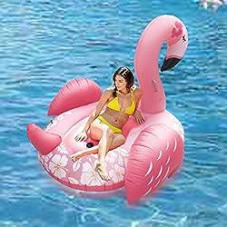 QIANGUANG inflable gigante Ride-poder del flamenco de la nadada del anillo del flotador de tubo partido con un rápido Válvulas de verano al aire libre Raft Decoraciones Juguetes para Adultos y Niños