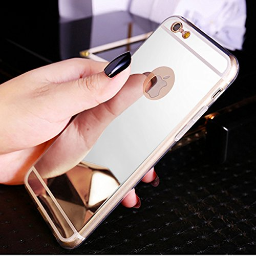 74bf9a66950 Funda iPhone 6S,Funda iPhone 6,ikasus Cristal brillante Brillo cristalino  Enchapado Espejo Flexible