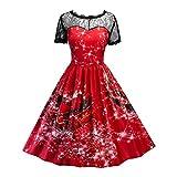 Die besten Weihnachten Jumpers - Kleid Damen Spitze Partykleid,Kurzarm Weihnachten Drucken Lange Frauen Bewertungen