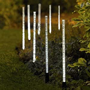 8 x gardman solar powered crystal bubble garden lights