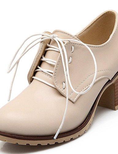 WSS 2016 Chaussures Femme-Habillé / Soirée & Evénement-Noir / Marron / Rose / Beige-Gros Talon-Talons / A Plateau / Bout Arrondi-Chaussures à brown-us6.5-7 / eu37 / uk4.5-5 / cn37