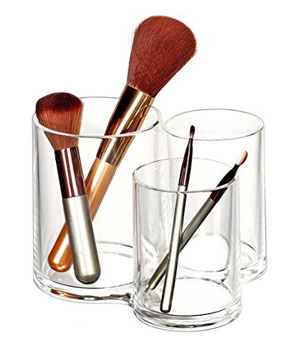Demarkt 1 Pcs Rangement Cosmetiques 3 Compartiments en Acrylique Transparent Organisateur de Cosmétique Maquillage pour le Rouges à lèvres, Brosse,Pinceaux à Maquillage, Papeterie ( Avec Couverture)