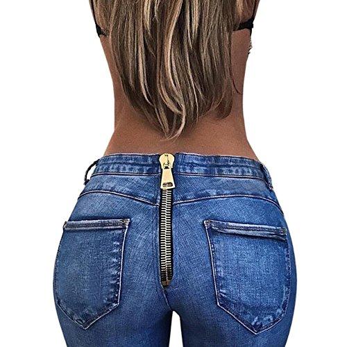 Hzjundasi Damen sexy Jeans Reißverschluss hinten hat Persönlichkeit Jeans Hosen betonen die sexy Kurve des Körpers (Reißverschluss Hinten Hat)