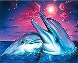 TianMai Heiß Neu DIY 5D Diamant Malerei Kit Kristalle Diamant Stickerei Strass Malerei Kleben Malen nach Zahlen Stich Kunst Kit Zuhause Dekor Mauer Aufkleber - Süße Delfine, 30x25cm