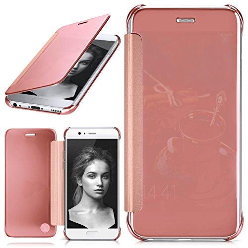 Huawei P10 Hülle Transparent TPU [OneFlow Void Cover] Dünne Schutzhülle Rosé-Gold Handyhülle für Huawei P10 Case Ultra-Slim Handy-Tasche mit Sicht-Fenster
