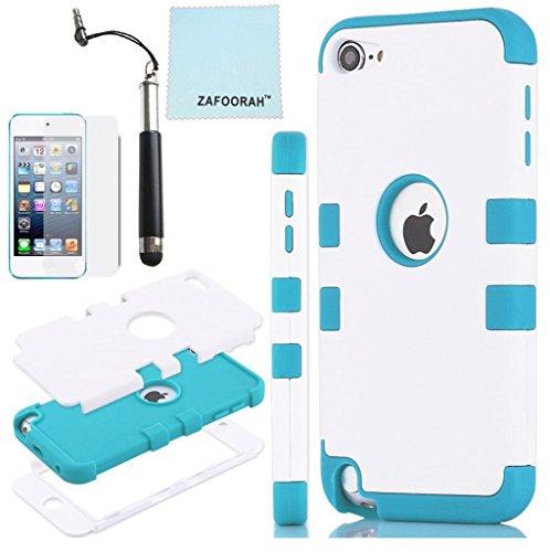 ZAFOOORAH Schutzhülle für Apple iPod Touch 5 (Silikon, Pinguinmotiv, inklusive Mini-Eingabestift, Displayschutzfolie und Mikrofasertuch), Doppel-Clip 3 Schichten - Weiß/Hellblau - Größe: Touch 5