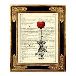 Elefant Herz Luftballon Kinderzimmer Deko Poster Kunstdruck auf viktorianischer Buchseite Valentinstag Afrika Geschenk Bild Steampunk ungerahmt