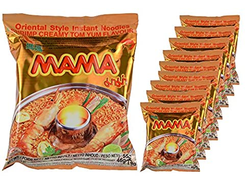 Mama - Asia Nudeln Creamy Shrimp Geschmack - 10er Pack (10 x 55g Beutel) - Thai Nudelsuppe (Thai Nudeln)