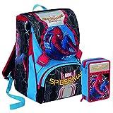 Trade shop www.tradeshopitalia.con–Kit école School Sac à Dos Extensible + Trousse 3Zips Giotto Marvel Spiderman