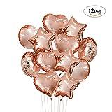 Topeedy 12 Stück Ballons Roségold Folie Luftballons 4 Stück Herzform, 4 Stück Runde Form, 4 Stück Sternform 18 Zoll Heliumballons für Geburtstag, Hochzeit, Weihnachtsfeier Dekoration