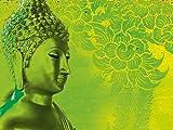 Artland Qualitätsbilder I Bild auf Leinwand LeinwandbilderP. Kraichana Buddha Goldstatue vor grünem, gemustertem Hintergrund in Thailand. Mythologie Religion Buddhismus Foto Grün A7RM