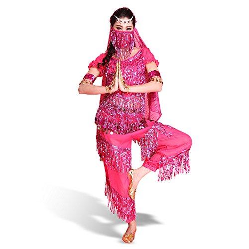 SymbolLife Belly professionnelle costume de danse, Halter Bra Top + Pantalon + Ceinture longue + foulard + Bracelet + brassard + Foulard Visage Rose