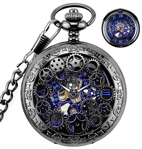 BHGWR Herren Taschenuhr mit Halskette Kette, Retro Herren Analog Steampunk Skelett Uhr, Mechanisch Handaufzug Taschenuhren mit römischen Ziffern für Herren - Schwarz