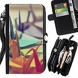 Graphic4You Niedlich Colorful Paper Origami Japanese Art Design Zipper Brieftasche mit Strap Hülle Tasche Schale Schutzhülle für LG X Cam
