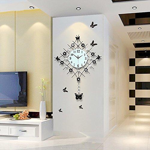 Kreative Mode (Flashing- Europäische Pastoral Ruhige große Glocke Uhr Quarz Uhr Wohnzimmer Moderne einfache kreative Mode Wanduhr ( Farbe : Schwarz ))