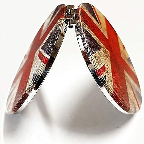 Distressed Union Jack Miroir de poche à collectionner. souvenir/souvenir/Speicher/Memoria./Grande-Bretagne/drapeau britannique/Union Jack Miroir compact./Mémorables Londres, Angleterre souvenir./miroir/Spiegel/Specchio/Espejo.