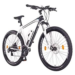 "NCM Prague 36V, 29"" Zoll Elektrofahrrad Mountainbike E-MTB E-Bike, Pedelec, 250W Bafang Heckmotor, 13Ah 468Wh Li-Ion Akku, Mechanische Scheibenbremsen, 21 Gang Shimano Schaltung (29"" Weiß)"