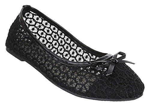 Kinder-Schuhe Ballerinas | elegante Slipper mit Schleife in verschiedenen Farben und Größen | Schuhcity24 | Loafers mit Struktur-Muster Schwarz