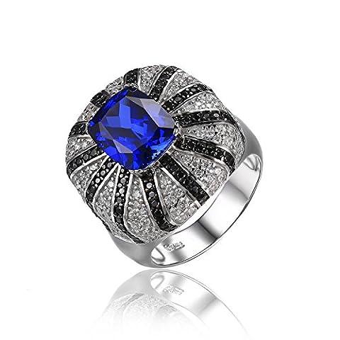 JewelryPalace Luxus 3.9ct Synthetisch Blau Saphir Natürlicher schwarzer Spinell Cocktail Ringe Solide 925 Sterling Silber Größe 51 to 59