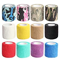 """IKR Self Adhesive Tape,Cohesive Wrap Bandages, Camouflage Wrap Tape for Hunting, Strong Elastic Stretch Sports Tape for Wrist, Ankle Sprains & Swelling,FDA Approved, 12 Pack-2"""" x5 Yards(12 Color)"""