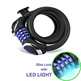 Bike Lock with LED Light, In-SP Bike Combination Cable Lock with Mount Bracket Heavy Duty Security for Motorcycle, Bicycle, Scooter, Grill, Gate, 1.2m x 12mm
