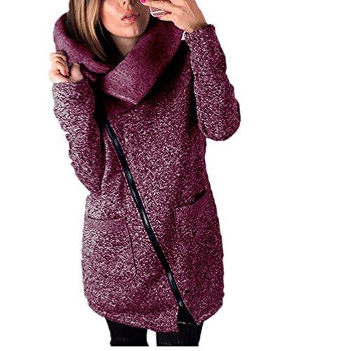 Vovotrade ❀❀Womens beiläufiger mit Kapuze Jacken-Mantel-langer Reißverschluss-Sweatshirt-Outwear-Oberseiten (EU Size:40(XL), Rot) Xl Hund Sweatshirts