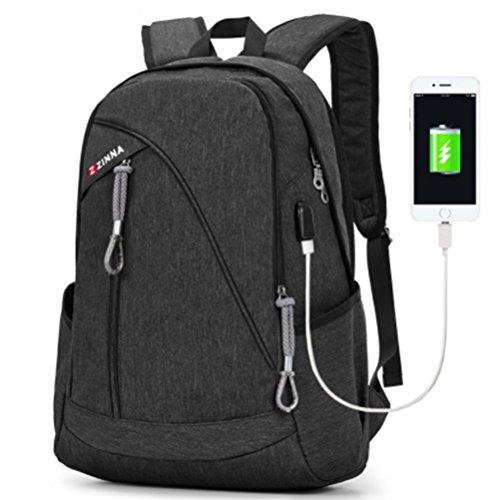 Laptop Notebook Rucksack USB Ladeanschluss: 35L gefütterte Tasche für Laptop bis zu 15.6 Zoll - wasserdichte Schultasche, Arbeitstasche für Computer bei Arbeit, Schule, Uni & Reisen (Schwarz)