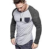 DNOQNShirts Männer Poloshirt Slim Fit Sport Langarmshirt Reine Farbe O-Ausschnitt Spleißen Langarm Shirt Mode Langarm Bluse Top XL