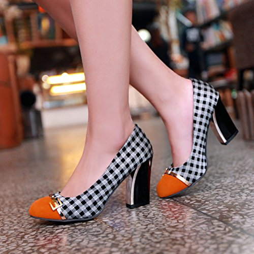 Chaussures femmes escarpin haut talon a carreau Orange