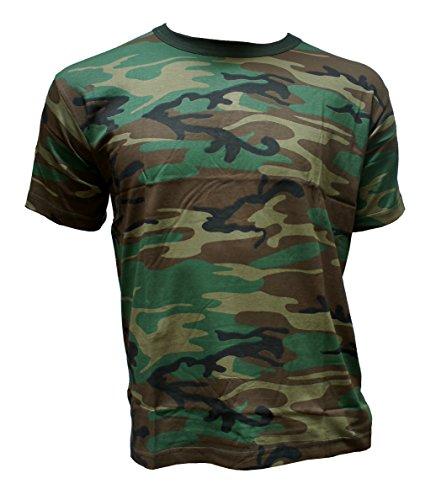 Herren T-Shirt Camouflage kurz Outdoor Tarnmuster Rundhals Baumwolle Woodland Army, Grün, L -