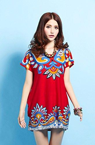QIYUN.Z Frauen Kurzarm O Hals Paisley Stammesdruck Lose Beiläufige Tee Kleid Plus GrößE Damen Blusen Tuniken T-Shirts Tops Shirt Kleider Rote
